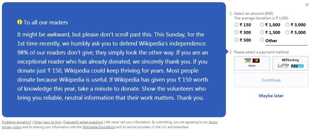 Defend Wikipedia's Independence By Donation