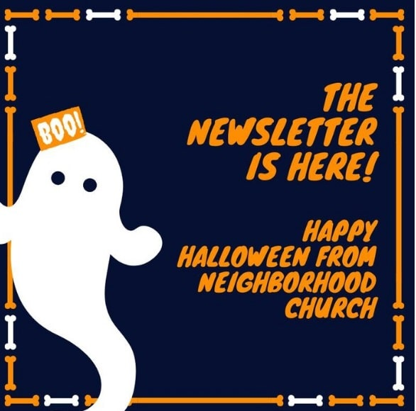 Halloween atmosphere in the design and text of the email newsletter